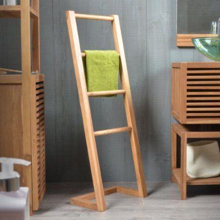 Solid Teak Bathroom Towel Rack Stand Hanger Ladder 110cm New Tikamoon:  Amazon.co.