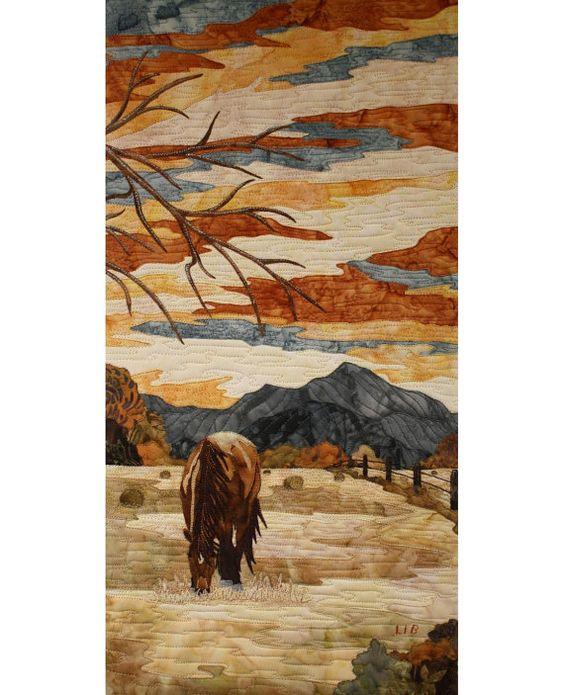 Horse landscapeTextile Art Sérénité by LIBEXPRESSION on Etsy
