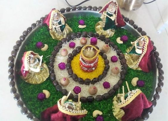 Ideas and decoration on pinterest for Aarti thali decoration pictures navratri