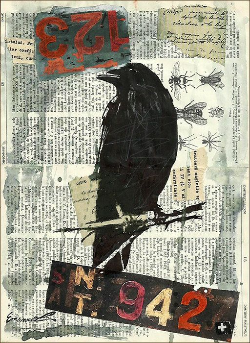 Print Art Ink Drawing Sketch Mixed Media Collage Raven Crow Painting Illustration Gift Autographed Signed Emanuel M. Ologeanu