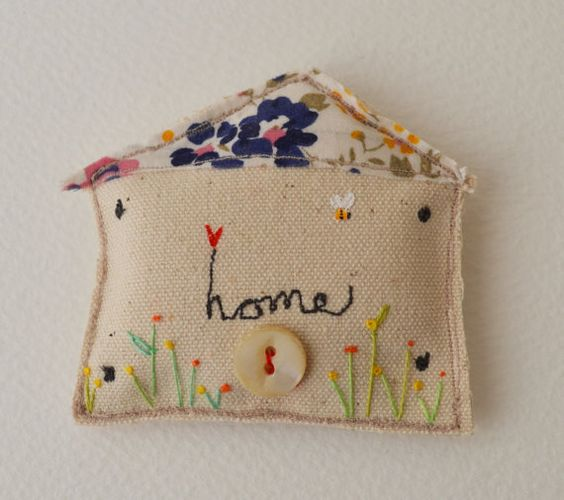 BROOCH : PIN textile free machine embroidered padded House  Home Hand embroidered flowers