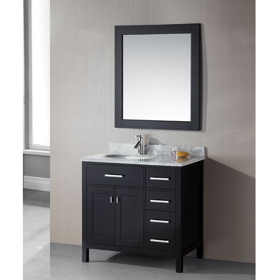 Design Element London 36 Inch Single Sink 4 Drawer Espresso Vanity Set By Design Element