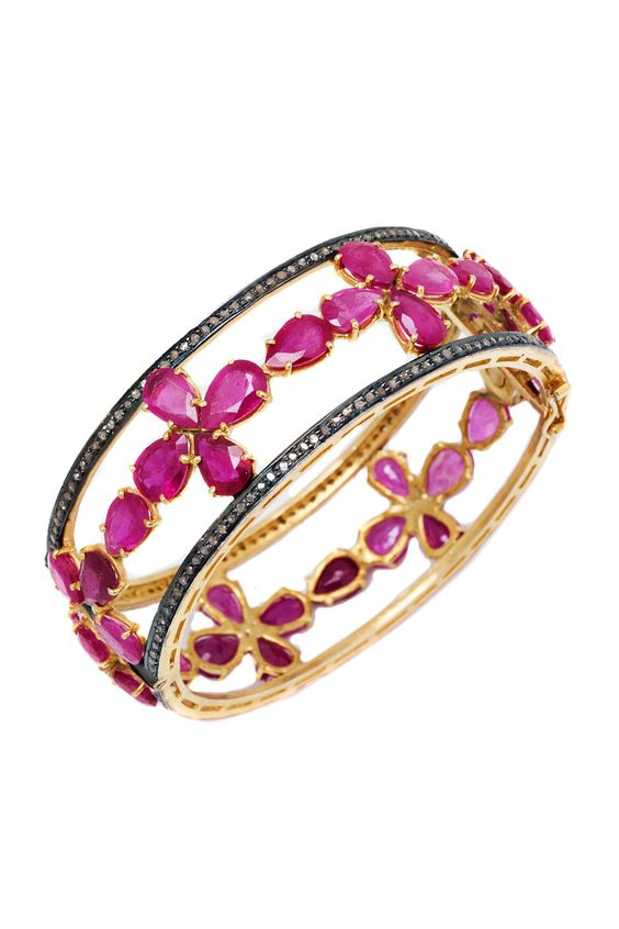 Diamond Ruby Cross Bangle <3