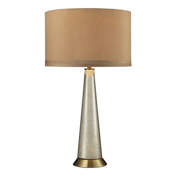 1-Light Table Lamp in Antique Mercury with Aged Brass