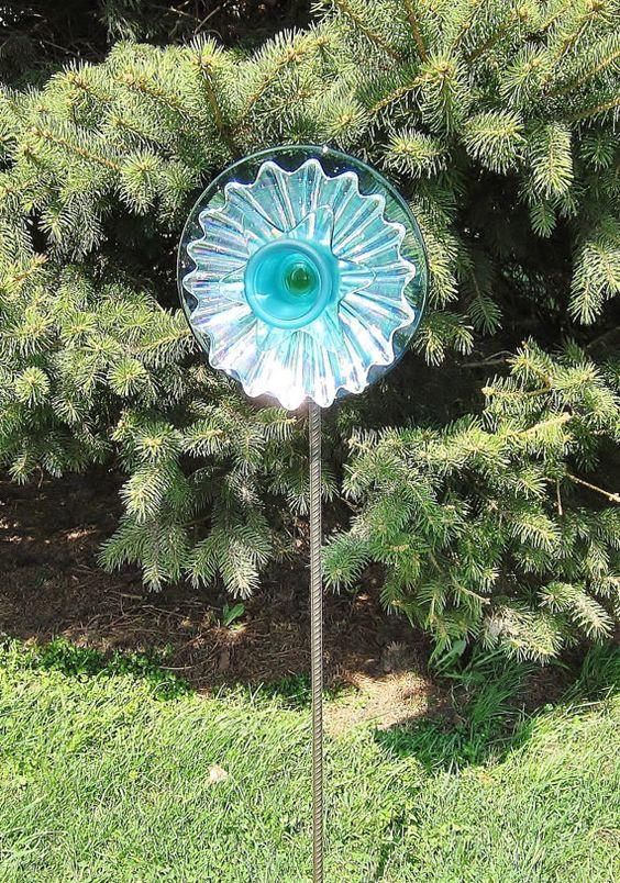 Recycled glass garden yard art outdoor decor upcycled for Upcycled yard decor