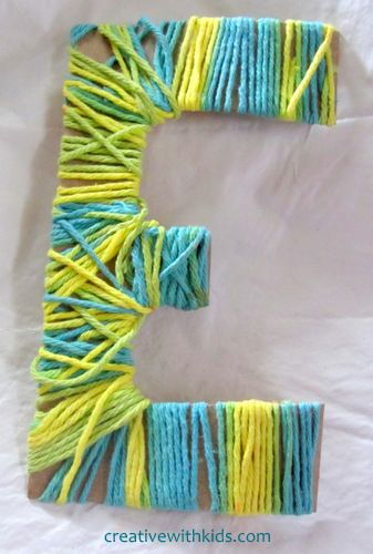 Yarn wrapped letters - part of the Classic Kids Crafts Series.  A whole name out of these would look cool, but would take a lot of time to make ;)