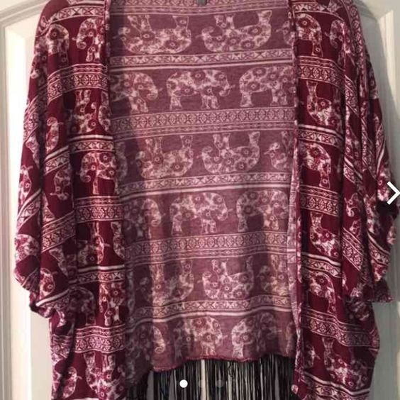 maroon cardigan with white elephant pattern Black fringe! Great condition. Charlotte Russe Tops Tees - Short Sleeve