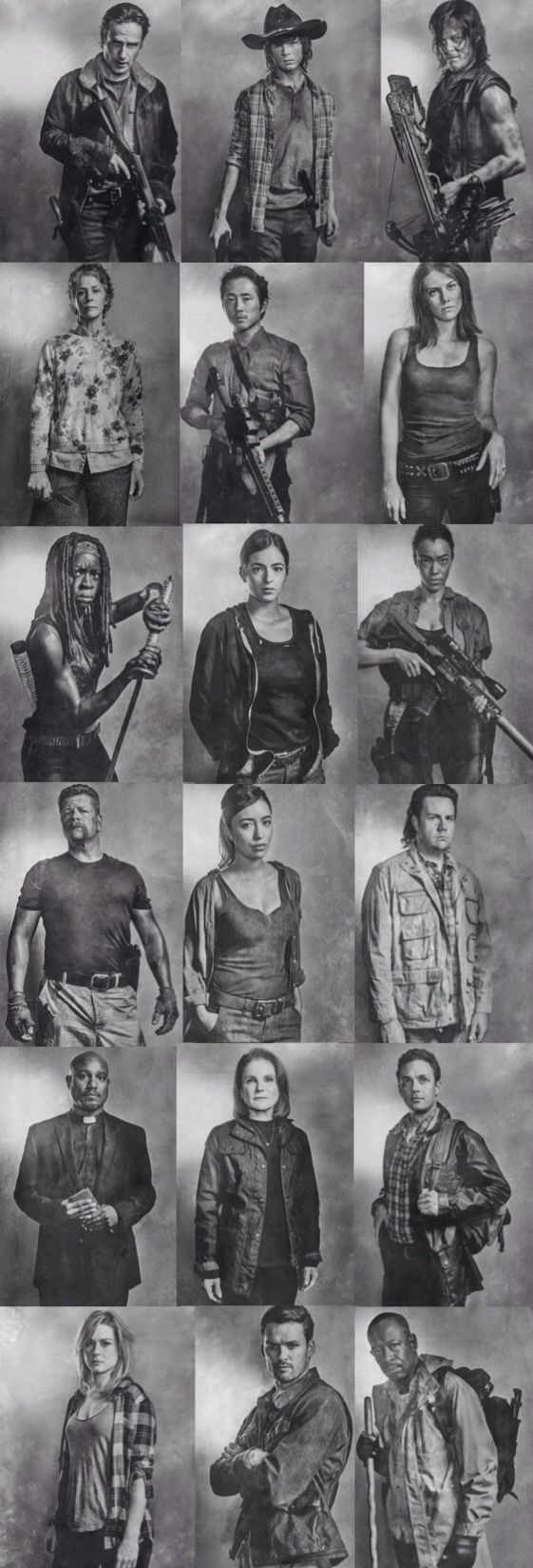 Rick, Carl, Daryl, Carol, Glenn, Maggie, Michone, Tara, Sasha, Abraham, Rosita, Eugene, Gabriel, Deanna, Aaron, Jesse, Spencer, and Morgan. The Walking Dead Season 6