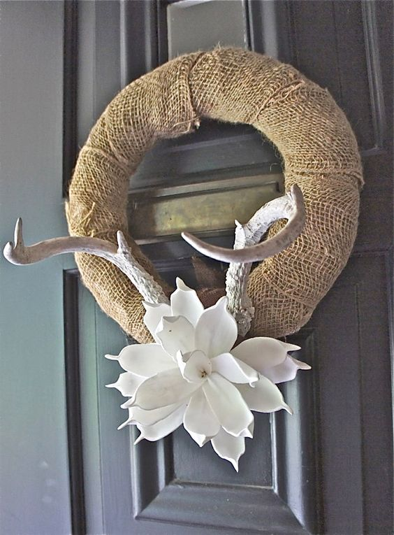 Antler Wreath: combo of his love for antlers and my love for flowers &…