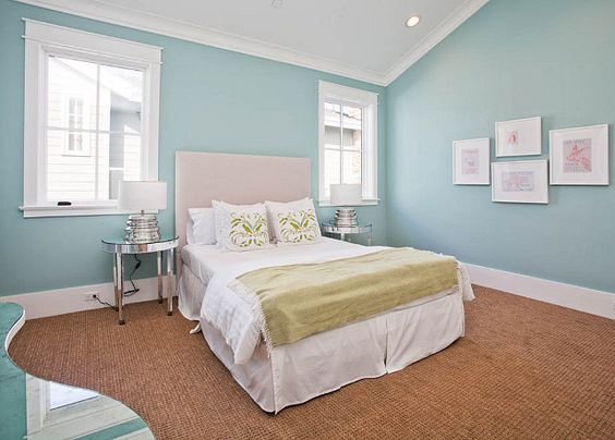 Family Home with Transitional InteriorsThis is one of the most popular turquoise paint colors, the one and only Wythe Blue by Benjamin Moore.: