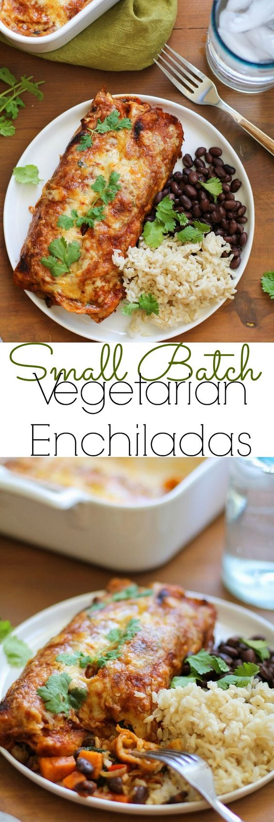 Small Batch Sweet Potato and Black Bean Enchiladas Recipe via The Roasted Root - the perfect vegetarian dinner for two!