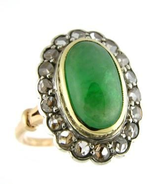 Victorian, circa 1880, jade, rose cut diamond and 18k gold ring.
