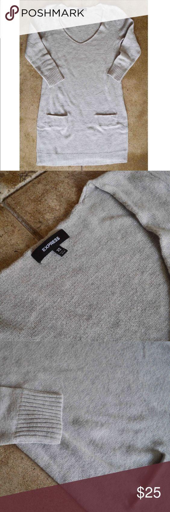 Express Sweater Dress Express Light Grey sweater dress. 3/4 sleeves. Vneck. Express Sweaters V-Necks