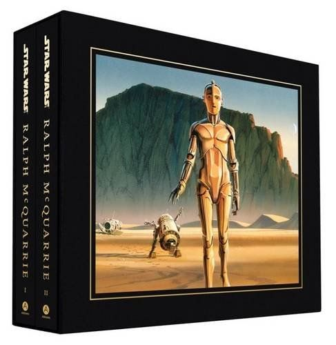 Star Wars Concept art book set by Ralph McQuarrie. R2-D2, C3-PO and the crashed escape pod from episode IV a new hope.