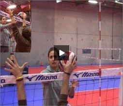 Logan Tom gives information to player about how to use the tip and tool off the block when playing volleyball.  For more information please see videos at http://volleyball1on1.com/instructors/logan-tom-volleyball/