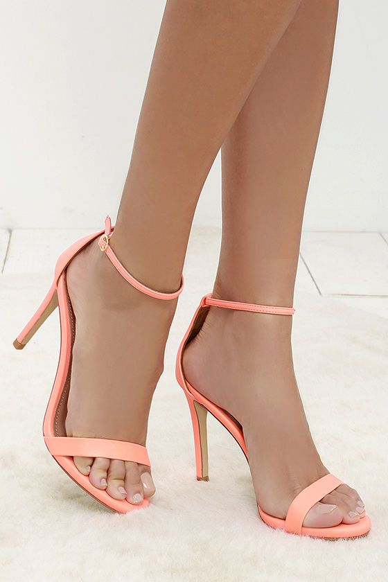 Coral Neon Ankle Strap Heels