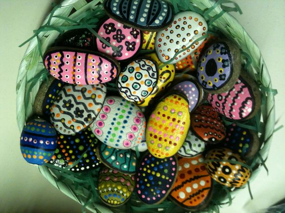 Painted Easter eggs  Stones