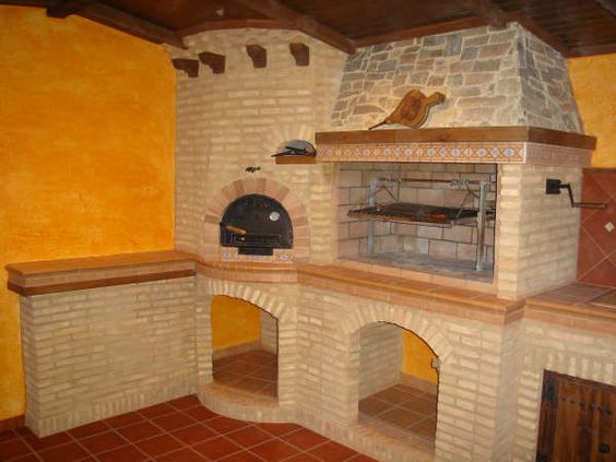 Interior barbacoa con horno barbacoas cocinas y for Fotos de barbacoas de obra para jardin