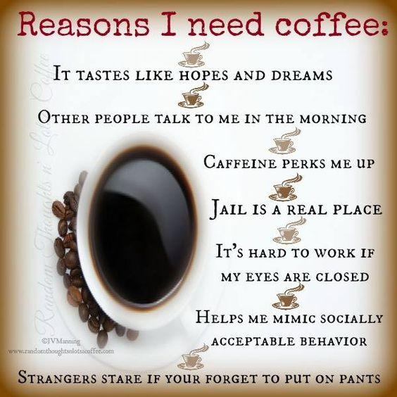 Reasons I Need Coffee #PeopleTalkToMeInTheMorning