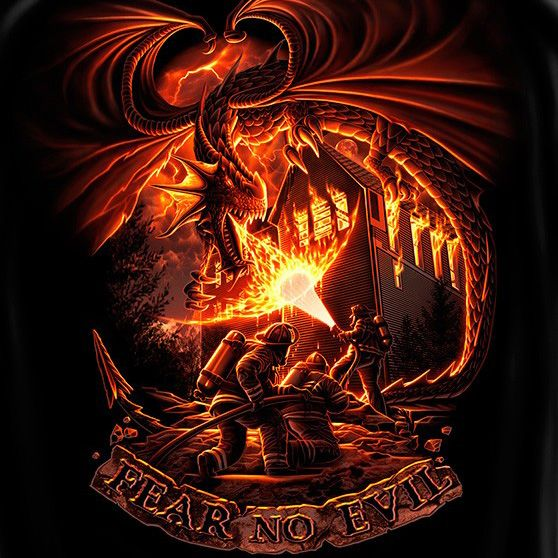Fear No Evil Firefighter dragon tshirt in black. With ...