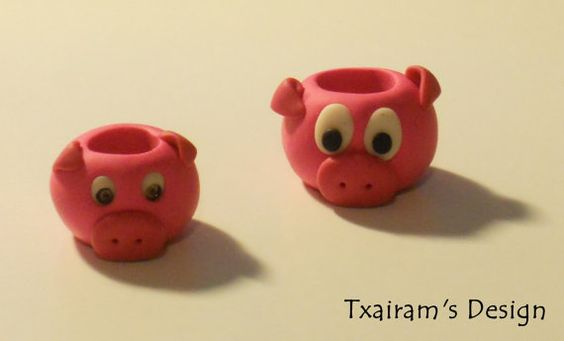 Polymer Clay Dread Bead / The little pig by txairam on Etsy, $2.50
