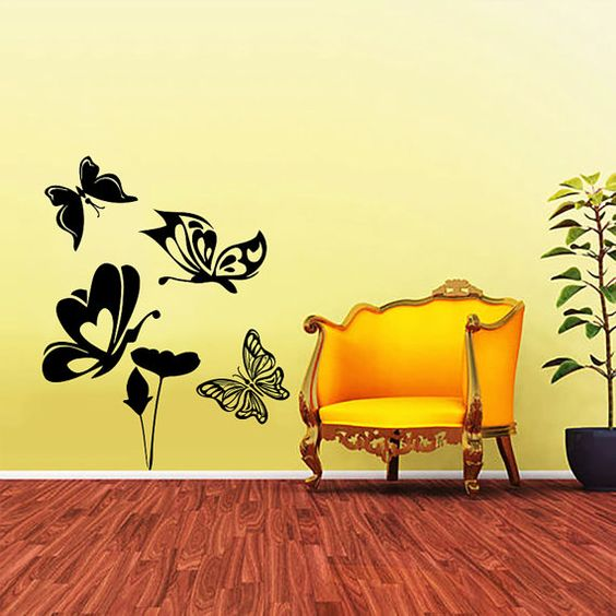 Flower and Butterfly Decal - Wall Decals - Wall Vinyl Decal Sticker Interior Home Decor Vinyl Art - Wall Decor Bedroom Living Room SV5351