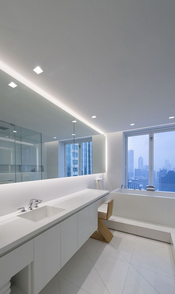 A lighting idea for contempporary bathrooms   Modern LED Lighting For The Bathroom   Aurora Square. A lighting idea for contempporary bathrooms   Modern LED Lighting