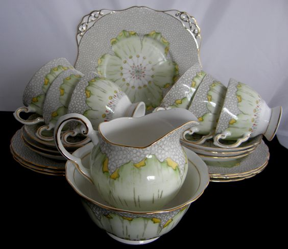 VINTAGE Tuscan hand painted bone china 21 piece tea set LOTUS design in stunning condition by RosiesChinaBoutique on Etsy https://www.etsy.com/listing/233120624/vintage-tuscan-hand-painted-bone-china