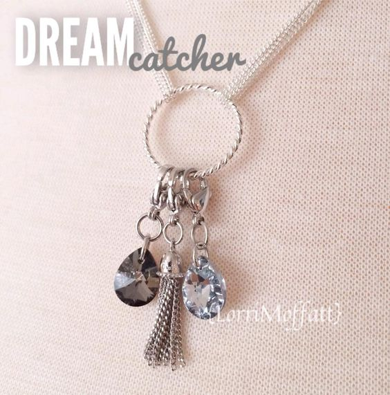 using the beautiful dream catcher chain to showcase some new dangles. the Swarovski teardrop dangles and the new tassel in silver. Origami Owl find LORRI MOFFATT on Facebook