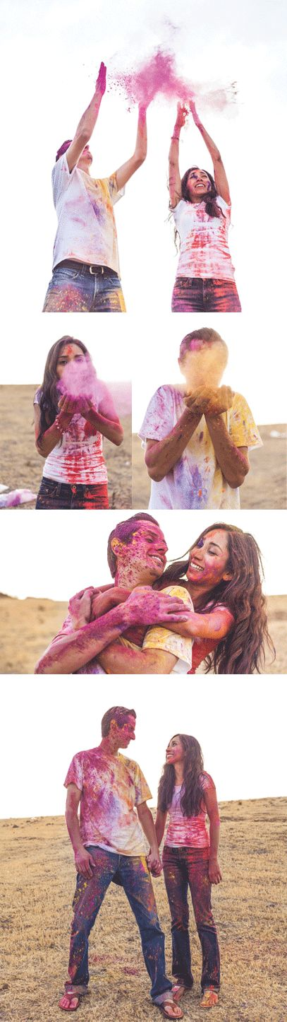 Engagement Photo Holi Powder | Couple Hoil Themed Prewedding Shoot | Prewedding Shoot + Holi = Unlimited Fun and Candid Moments! Function Mania