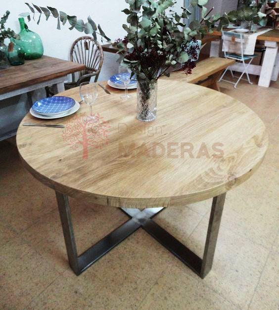 Mesa modelo m naco de tablero redondo de madera maciza de - Patas para mesas redondas ...