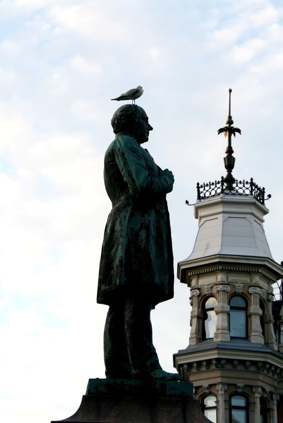 Some days you're the pigeon, some days you're the statue... in Helsinki, Finland