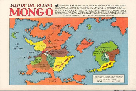Mongo, the setting for the Flash Gordon comic strip. The map is pretty simple, but the vivid colours and comic-book font give it an exotic feel.