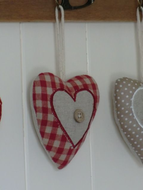 Red Gingham Fabric Heart Hanger