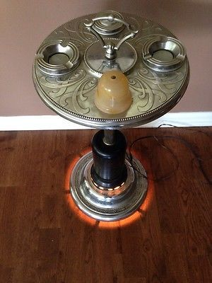 Vintage Art Deco Slag Glass Smoking Stand Ashtray With