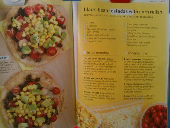 Black-Bean Tostadas with Corn Relish | Recipe | Tostadas, Corn Relish ...