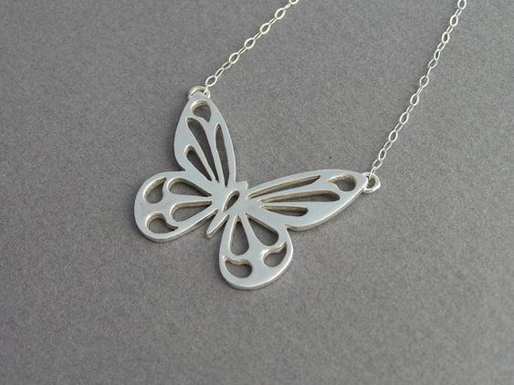 Butterfly  Pendant Necklace  Sterling Silver by DaliaShamirJewelry, $70.00