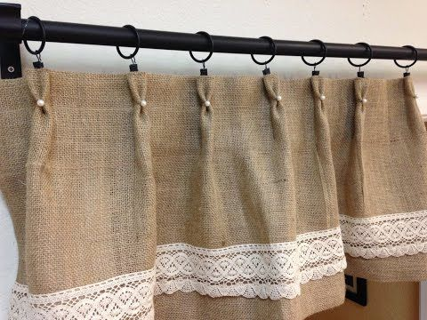 Burlap And Lace Curtains That You Could Design Yourself Youtube Burlap Valance Burlap Curtains Kitchen Burlap Curtains