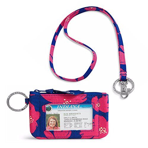 """Vera Bradley Zip Id Case and Lanyard in Art Poppies. Zip ID Case Dimensions: 5"""" W x 3"""" H. Compact case with silver signature key ring,. Front ID window, Easy zip top, Interior compartment for cards and cash. Lanyard Dimensions: 18½"""" W x ½""""neck strap. Large key ring and a convenient clip."""