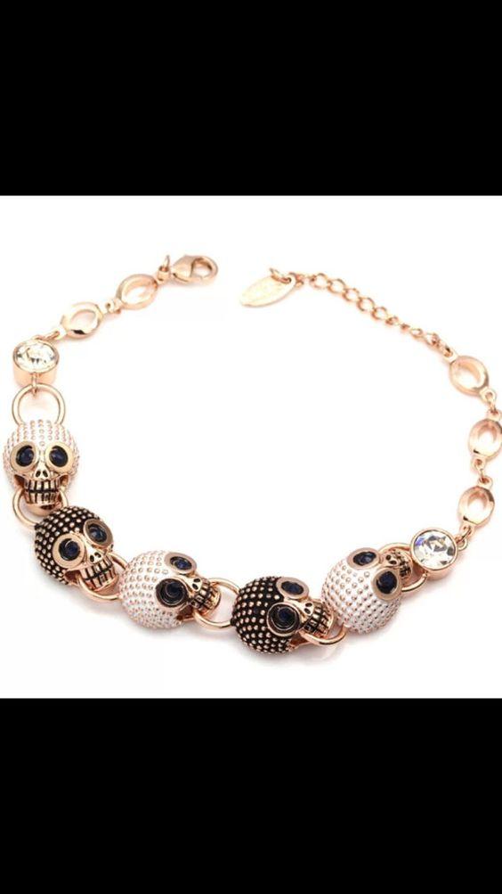 Rose gold skull bracelet by OnTheRocks70 on Etsy