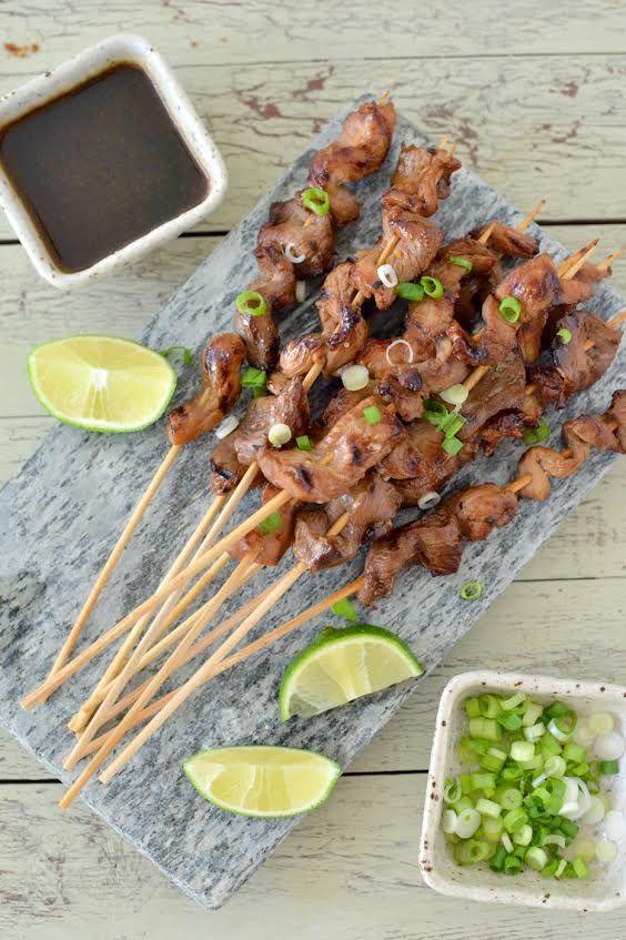 Pork Satay with Soy Sauce Marinade and Ginger Dipping Sauce #GrillPork @porkbeinspired @porkteinspira #ad