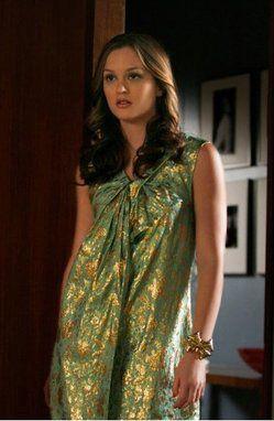 Love this!  Blair Waldorf (2x22). 3.1 Phillip Lim Green and Gold Dress.