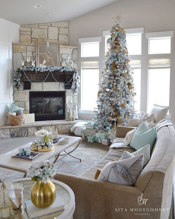 Corner Fireplace With A Vaulted Ceiling