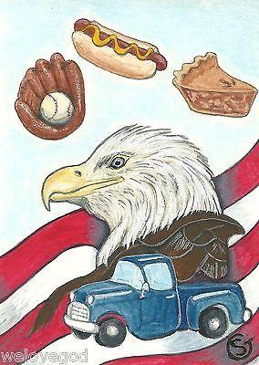 ACEO FF Fall Frenzy Eagle Baseball Chevy Truck Original Watercolor Goeben