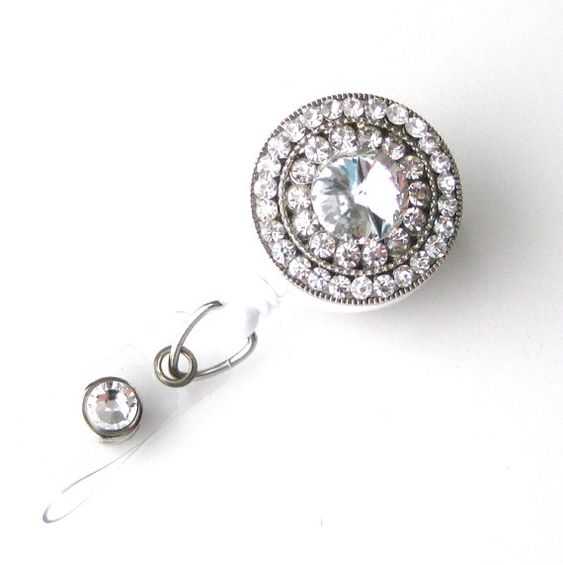 Crystal Bling - Rhinestone Badge Holder - Unique Retractable Badge Reels - Stylish ID Badge Clip - Nurse Jewelry - RN Badges - BadgeBlooms on Etsy, $18.00