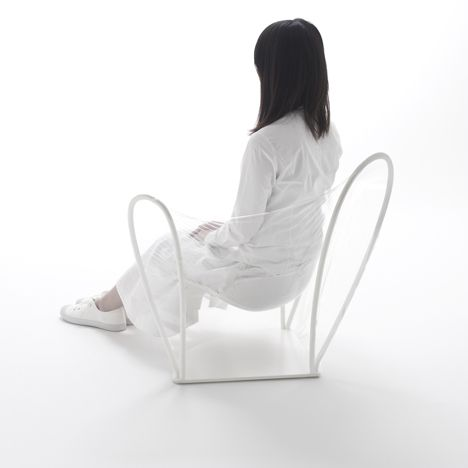 this chair made from polyurethane film is part of a collection of transparent furniture by Japanese designers Nendo