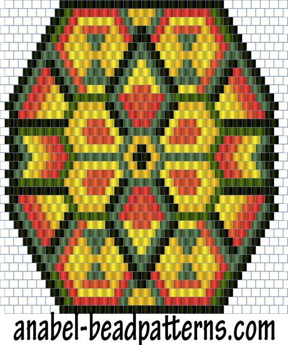 Схема кулона Индейское солнце - мозаичное плетение / peyote pattern