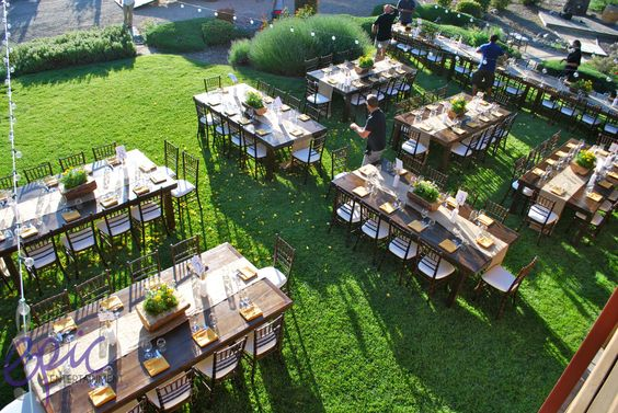 Dinner Table Overhead View : Overhead view of dinner tables at wedding at Zenaida Cellars in Paso ...