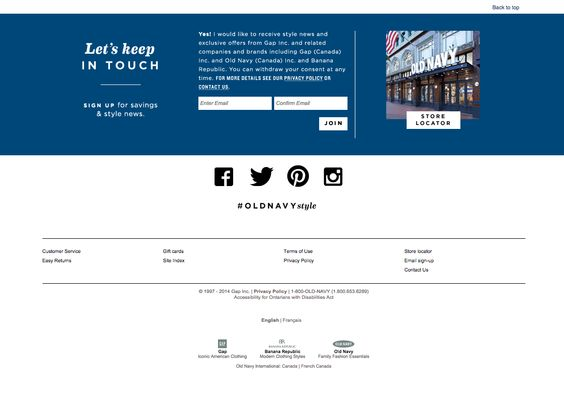 Old navy Site Footer