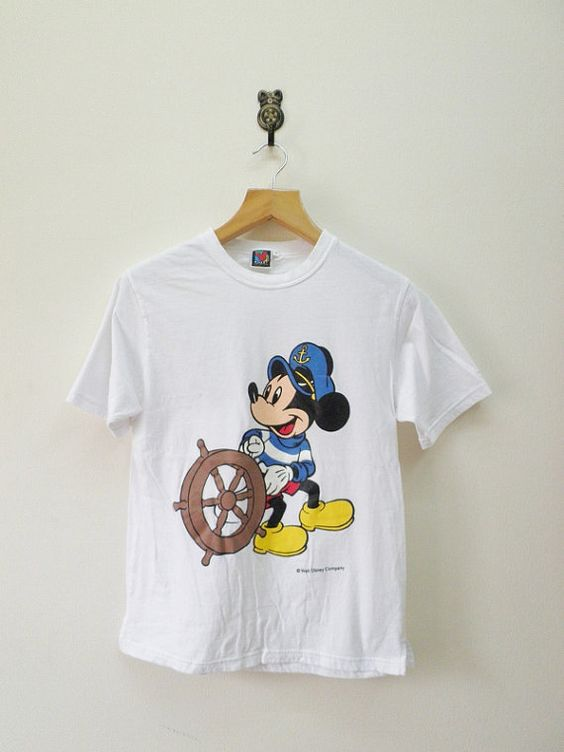 Vintage 90's Mickey Mouse Sailor Cartoon Big by RetroFlexClothing